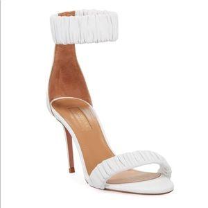 Aquazzura white leather sandal heel